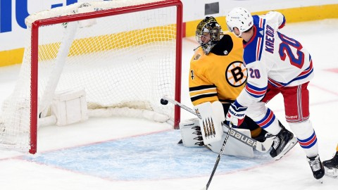 Boston Bruins goalie Jaroslav Halak, New York Rangers winger Chris Kreider