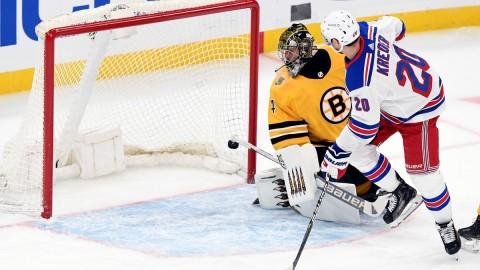 Boston Bruins goalie Jaroslav Halak, New York Rangers winger Chris Kreider