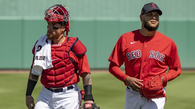Boston Red Sox catcher Christian Vazquez and pitcher Eduardo Rodriguez