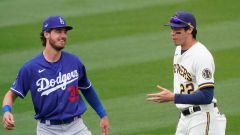 Los Angeles Dodgers outfielder Cody Bellinger and Milwaukee Brewers outfielder Christian Yelich