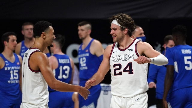 Gonzaga Bulldogs forward Corey Kispert (24) and guard Jalen Suggs (1)