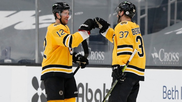 Boston Bruins Forwards Craig Smith, Patrice Bergeron