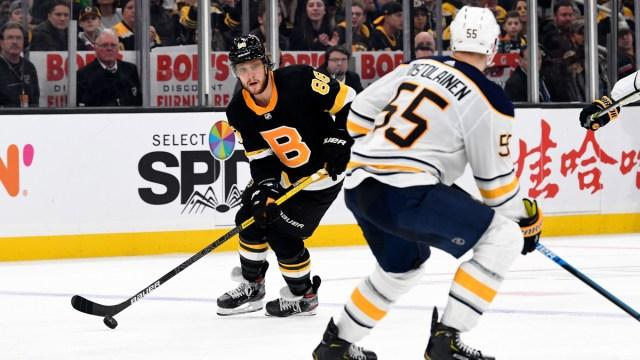 Boston Bruins winger David Pastrnak, Buffalo Sabres defenseman Rasmus Ristolainen