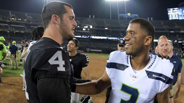 Las Vegas Raiders quarterback Derek Carr and Seattle Seahawks quarterback Russell Wilson