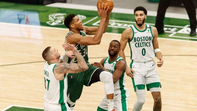 Milwaukee Bucks forward Giannis Antetokounmpo, Boston Celtics center Daniel Theis, guard Kemba Walker, forward Jayson Tatum