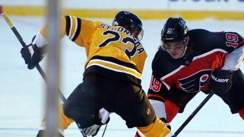 Boston Bruins center Jack Studnicka, Philadelhpia Flyers center Nolan Patrick