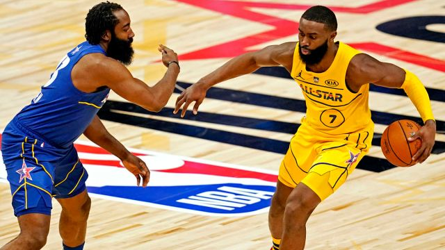 Brooklyn Nets guard James Harden and Boston Celtics guard Jaylen Brown