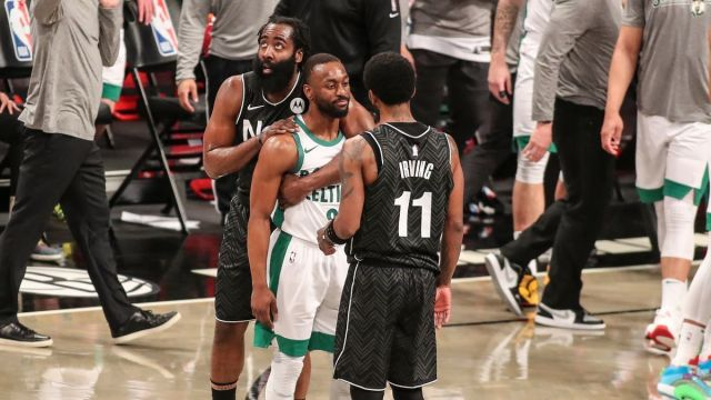Brooklyn Nets guards James Harden, Kyrie Irving, Boston Celtics guard Kemba Walker