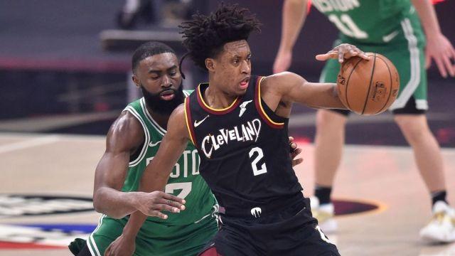 Boston Celtics guard Jaylen Brown, Cleveland Cavaliers guard Collin Sexton