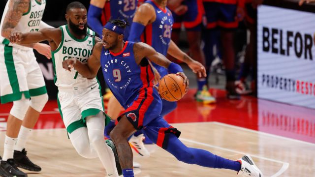 Boston Celtics guard Jaylen Brown and Detroit Pistons forward Jerami Grant