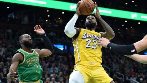 Boston Celtics guard Jaylen Brown, Los Angeles Lakers forward LeBron James