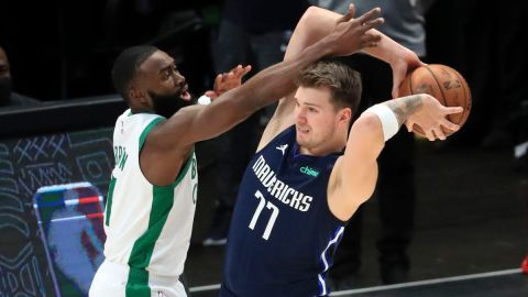 Boston Celtics guard Jaylen Brown and Dallas Mavericks guard Luka Doncic