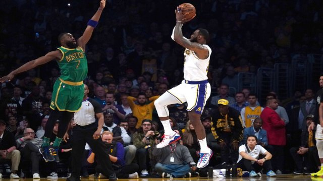 Boston Celtics Guard Jaylen Brown And Los Angeles Lakers Forward LeBron James