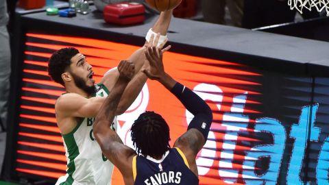 Boston Celtics forward Jayson Tatum, Utah Jazz center Derrick Favors