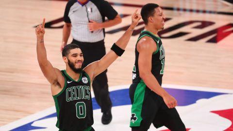 Boston Celtics forwards Jayson Tatum and Grant Williams