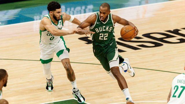 Boston Celtics forward Jayson Tatum and Milwaukee Bucks forward Khris Middleton