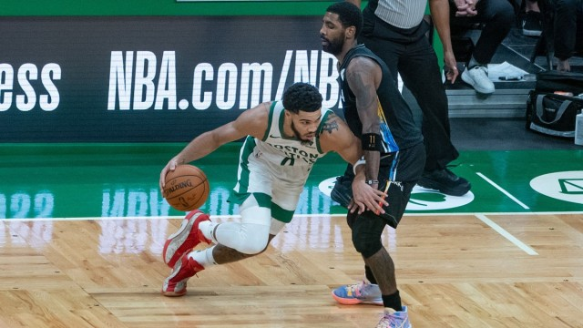 Boston Celtics forward Jayson Tatum and Brooklyn Nets guard Kyrie Irving