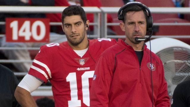 San Francisco 49ers quarterback Jimmy Garoppolo, head coach Kyle Shanahan