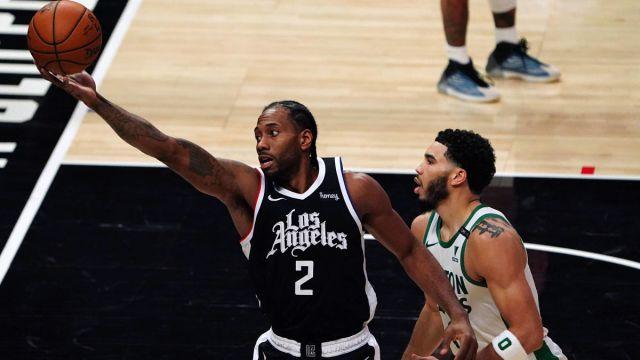Los Angeles Clippers forward Kawhi Leonard and Boston Celtics forward Jayson Tatum