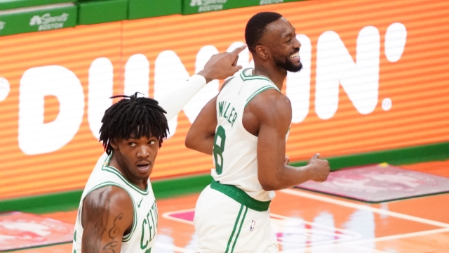 Boston Celtics guard Kemba Walker, center Robert Williams