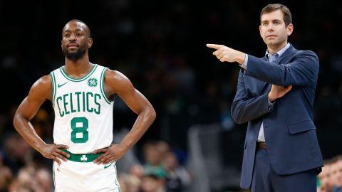 Boston Celtics guard Kemba Walker, coach Brad Stevens