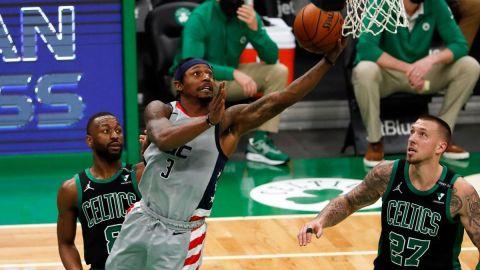 Washington Wizards guard Bradley Beal, Boston Celtics guard Kemba Walker, center Daniel Theis
