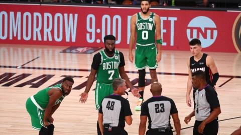 Boston Celtics guard Kemba Walker (8) and forwards Jaylen Brown (7) and Jayson Tatum (0)y