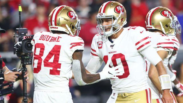 New England Patriots wide receiver Kendrick Bourne and San Francisco 49ers quarterback Jimmy Garoppolo