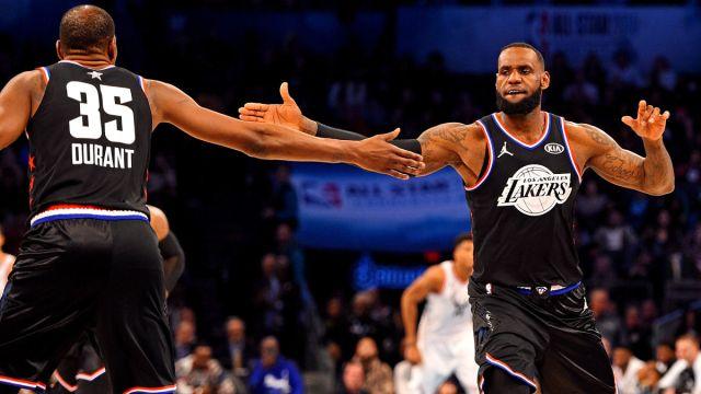 Brooklyn Nets forward Kevin Durant and Los Angeles Lakers forward LeBron James