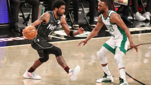 Brooklyn Nets guard Kyrie Irving, Boston Celtics guard Kemba Walker