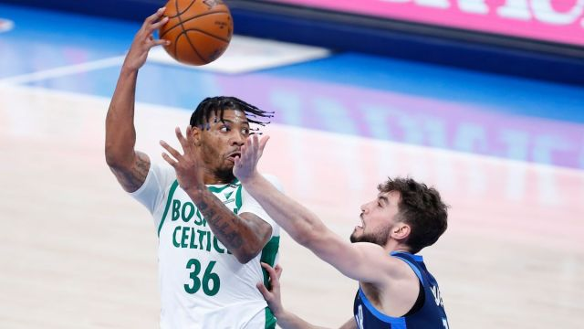 Boston Celtics guard Marcus Smart. Oklahoma City Thunder guard Ty Jerome