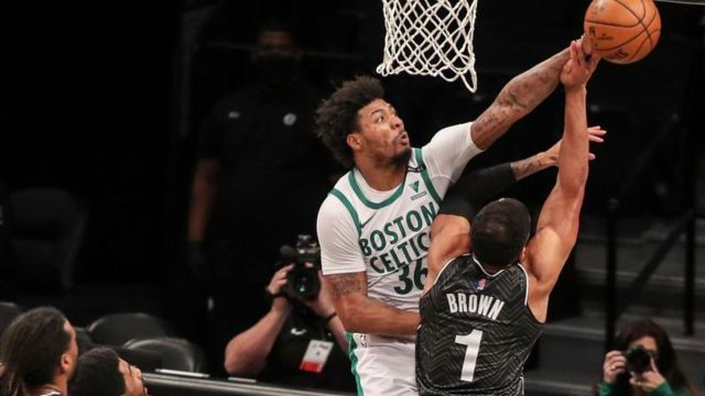 Boston Celtics guard Marcus Smart, Brooklyn Nets guard Bruce Brown