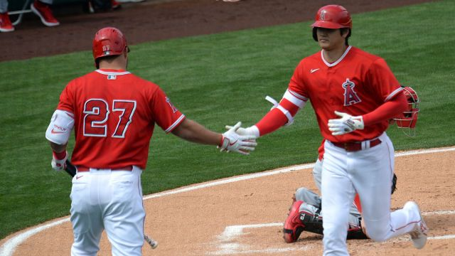 Los Angeles Angels outfielders Mike Trout, Shohei Ohtani