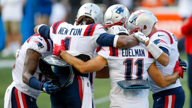 Patriots wide receiver N'Keal Harry, QB Cam Newton, wide receiver Julian Edelman