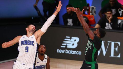 Chicago Bulls center Nikola Vucevic and Boston Celtics guard Jaylen Brown