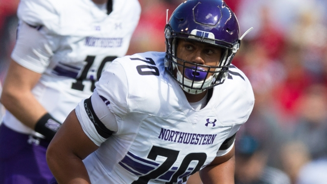 Northwestern Wildcats offensive lineman Rashawn Slater
