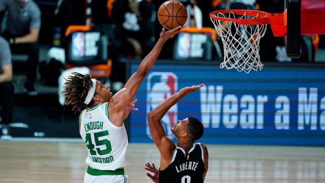 Boston Celtics guard Romeo Langford (45) and Brooklyn Nets guard Timothe Luwawu-Cabarrot (9)