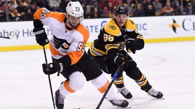 Boston Bruins winger David Pastrnak, Philadelphia Flyers defenseman Shayne Gostisbehere
