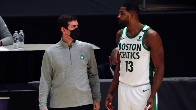 Boston Celtics center Tristan Thompson, head coach Brad Stevens