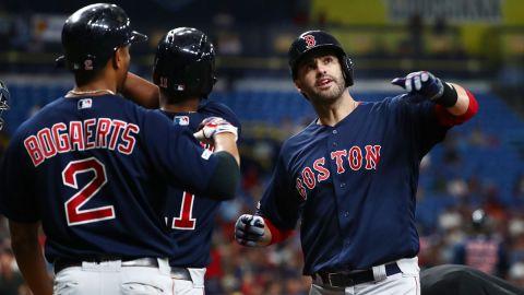 Boston Red Sox shortstop Xander Bogaerts and designated hitter J.D. Martinez