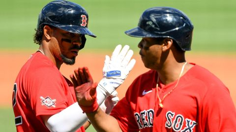 Boston Red Sox infielders Xander Bogaerts and Rafael Devers