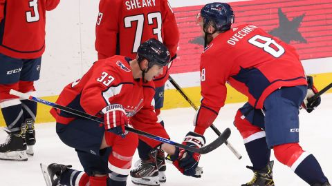 Washington Capitals defenseman Zdeno Chara and forward Alex Ovechkin