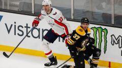 Washington Capitals defenseman Zdeno Chara, Boston Bruins defenseman Patrice Bergeron