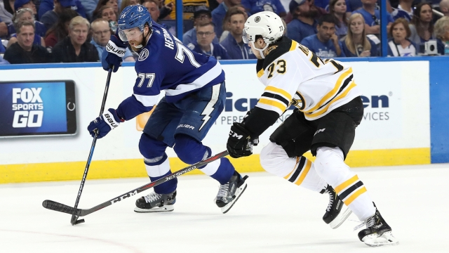 Boston Bruins defenseman Charlie McAvoy, Tampa Bay Lightning defenseman Victor Hedman