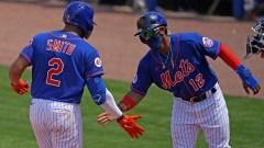New York Mets left fielder Dominic Smith, shortstop Francisco Lindor