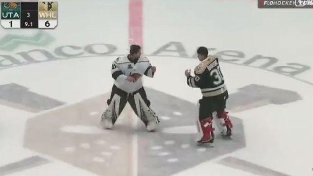 ECHL goalie fight