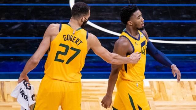 Utah Jazz center Rudy Gobert and guard Donovan Mitchell