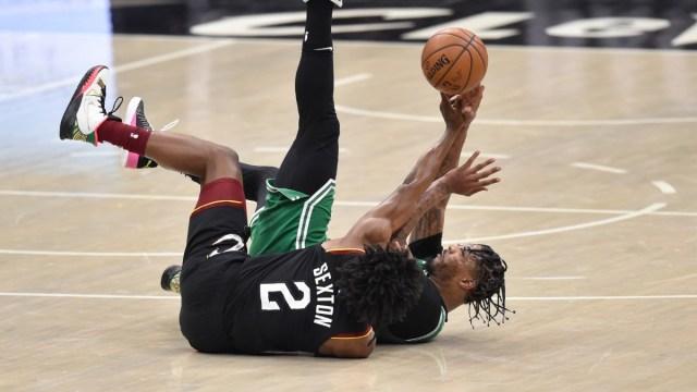 Cleveland Cavaliers guard Collin Sexton and Boston Celtics point guard Marcus Smart