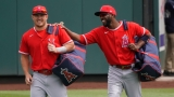 Los Angeles Angels outfielders Mike Trout, Dexter Fowler