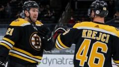 Boston Bruins Forwards Nick Ritchie, David Krejci